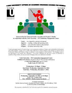 Bridging Course for Women @ YorkU - TD Community Engagement Centre | Toronto | Ontario | Canada